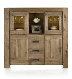 Santorini, Highboard 2-glass Doors+2-doors+2-drawers+2-niches (+ Led Strip)