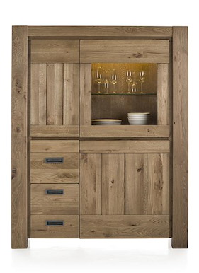 Santorini, Cabinet 1-glass Door + 2-doors + 2-drawers (+ Led Strip)