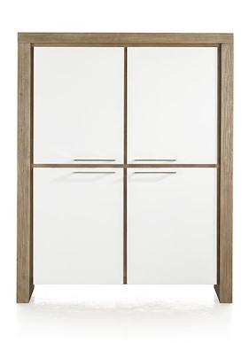Kozani, Armoire Basse 4-portes + 2-tiroirs (interieur) - 120 Cm
