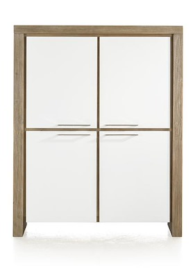 Kozani, Cabinet Low 4-doors + 2-drawers (inside) - 120 Cm