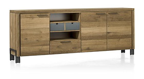 Modrava, Buffet 3-portes + 1-tiroir + 1-corbeille + 2-niches - 220 Cm