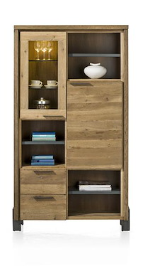Modrava, Armoire 1-porte De Verre+1-porte+2-tiroirs+6-niches (+led) -105 Cm