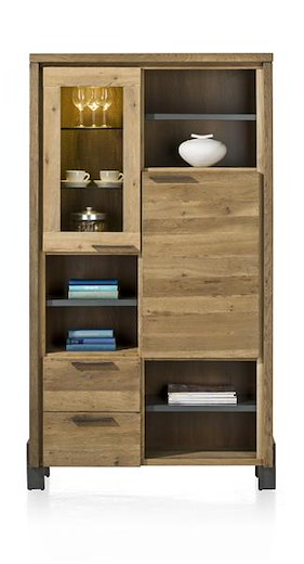 Modrava, Armoire 1-porte En Verre+1-porte+2-tiroirs+6-niches (+led) -105 Cm