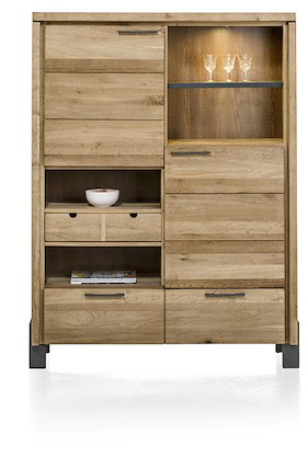 Modrava, Armoire 2-portes +2-tiroirs +1-corbeille +4-niches (+led) - 120 Cm