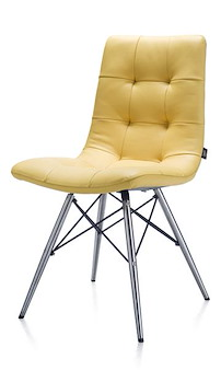 Alec, Dining Chair Stainless Steel + Conical Leg + Catania Yellow