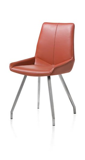 Levi, Dining Chair - 4 Legs Stainless Steel Curved - Catania Leather