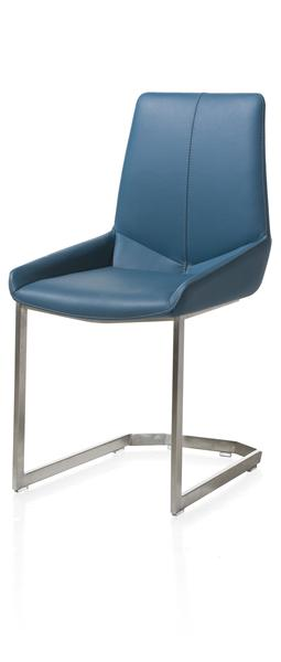 Levi, Dining Chair - Stainless Steel Square Swing Frame - Catania Leather