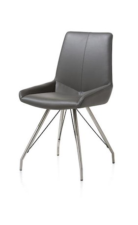 Levi, Dining Chair - Stainless Steel Desing Leg - Catania Leather