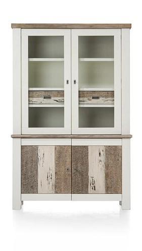 Tibro, Glasscabinet 2-glassdoors + 2-doors + 2-drawers - 130 Cm