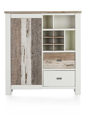 Tibro, Highboard 1-porte + 2-corbeilles + 3-niches + 6-niches De Vin-130 Cm