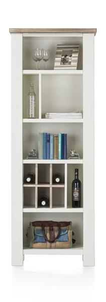 Tibro, Bookcase 6-niches + 6-wine Racks - 70 Cm