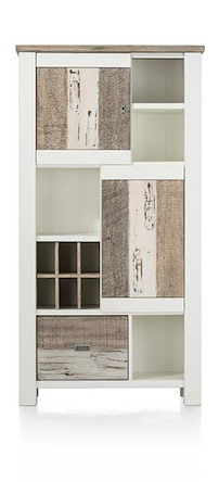 Tibro, Armoire 2-portes + 1-corbeille + 4-niches + 6-niches De Vin - 100 Cm
