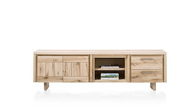 More, Lowboard 2-doors + 2-drawers + 2-niches 220 Cm - Wood
