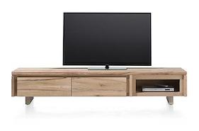More, Meuble Tv 2-portes Rabattantes + 1-niche 200 Cm - Bois
