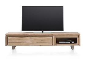 More, Meuble Tv 180 Cm - 2-portes Rabattantes + 1-niche - Bois