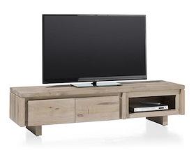 More, Meuble Tv 160 Cm - 2-portes Rabattantes + 1-niche - Bois