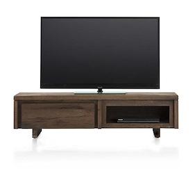More, Meuble Tv 140 Cm - 1-porte Rabattante + 1-niche - Bois
