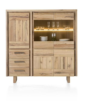 More, Highboard 3-doors + 2-glassdoors + 3-drawers 150 Cm - Wood (+ Led)