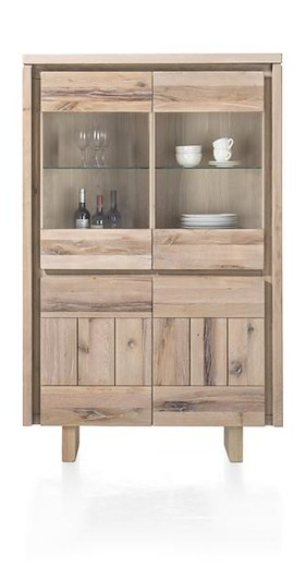 More, Highboard 2-portes + 2-portes En Verres 99 Cm - Bois (+ Led)