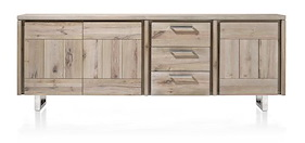 More, Sideboard 3-doors + 3-drawers 240 Cm - Stainless Steel