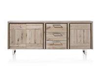More, Buffet 3-portes + 3-tiroirs 220 Cm - Inox