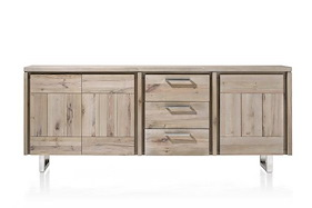 More, Sideboard 3-doors + 3-drawers 220 Cm - Stainless Steel