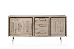 More, Sideboard 3-doors + 3-drawers 200 Cm - Stainless Steel