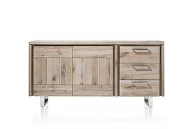 More, Buffet 2-portes + 3-tiroirs 180 Cm - Pieds Inox