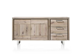 More, Sideboard 2-doors + 3-drawers 180 Cm - Stainless Steel