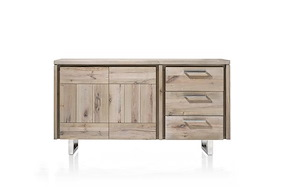 More, Sideboard 2-doors + 3-drawers 160 Cm - Stainless Steel