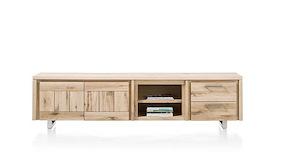 More, Lowboard 2-portes + 2-tiroirs + 2-niches 240 Cm - Inox