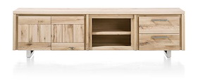 More, Lowboard 2-portes + 2-tiroirs + 2-niches 220 Cm - Inox