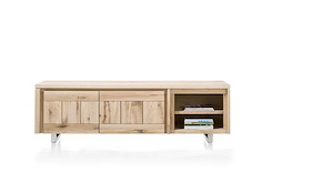 More, Lowboard 2-portes + 2-niches 200 Cm - Inox
