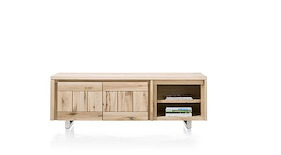 More, Lowboard 2-portes + 2-niches 180 Cm - Inox