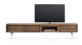 More, Meuble Tv 2-portes Rabattantes + 1-tiroir + 1-niche 240 Cm - Inox