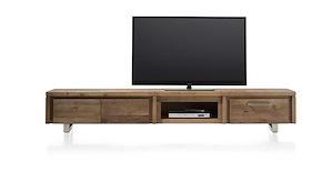 More, Meuble Tv 2-portes Rabattantes + 1-tiroir + 1-niche 220 Cm - Inox