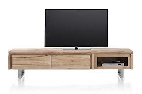 More, Meuble Tv 2-portes Rabattantes + 1-niche 200 Cm - Inox