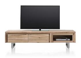 More, Meuble Tv 180 Cm - 2-portes Rabattantes + 1-niche - Inox