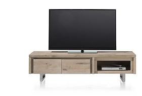 More, Meuble Tv 160 Cm - 2-portes Rabattantes + 1-niche - Inox