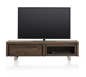 More, Meuble Tv 1-porte Rabattante + 1-niche 140 Cm - Inox