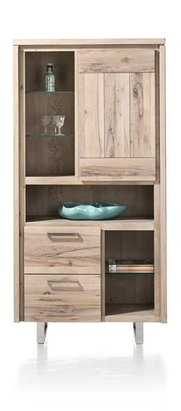 More, Cabinet 1-door + 2-drawers + 6-niches - Stainless Steel