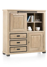Atelier, Highboard 1-porte Coulissante + 1-porte + 3-tiroirs + 4-niches