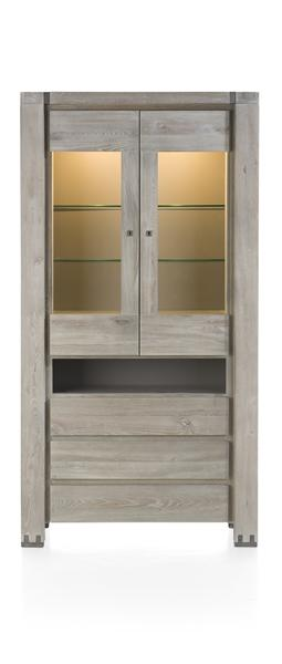 Avola, Glass Cabinet 2-glassdoors + 3-drawers + 1-niche (+ Led)