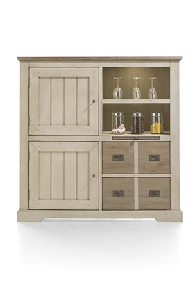 Le Port, Highboard 2-portes + 2-tiroirs + 2-niches + 1-plateau (+ Led)