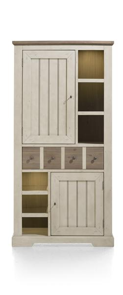 Le Port, Armoire 100 Cm - 2-portes + 1-tiroir + 6-niches (+ Led)