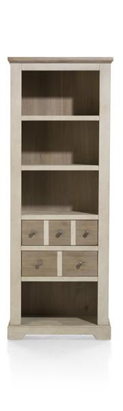 Le Port, Bibliotheque 2-tiroirs + 4-niches - 75 Cm