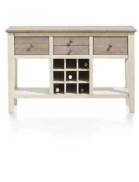Le Port, Console 120 X 40 Cm + 4-tiroirs + 9-niches A Bouteilles + 2-niches