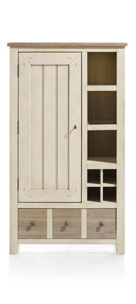 Le Port, Armoire 1-porte + 1-tiroir + 3-niches +4-niches A Bouteilles(+led)