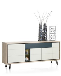 Jade, Buffet 4-portes + 1-tiroir + 2-niches - 180 Cm (+ Led)