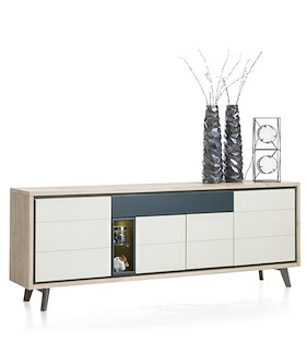 Jade, Buffet 4-portes + 1-tiroir + 2-niches - 220 Cm (+ Led)